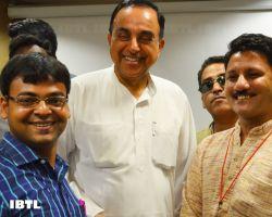 Dr @Swamy39 with Vinay Tiwari, Arun Tiwari and Subrat Goswami : IBTL Bharat Samvaad