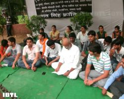 Protesters at Jantar Mantar : Hunger Strike in support of Indigenous Peoples of Assam