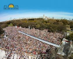 100,000 people come together to create a positive wave of peace, love and joy