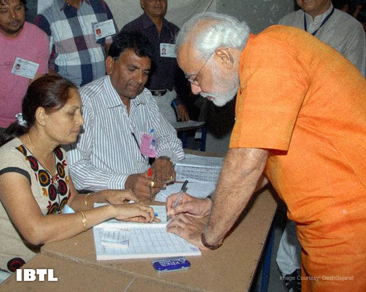 Narendra Modi voted in a school in Ranip area for Sabarmati assembly seat