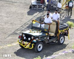 RSS Supremo Mohan Bhagwat in Jeep