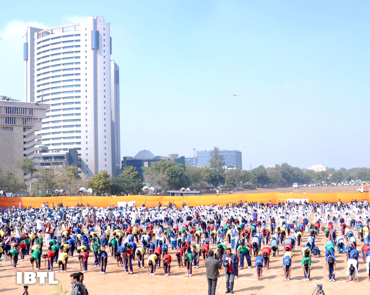 12,000 students took part in the Surya Namaskar Program at Ramlila Grounds