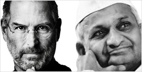Anna Hazare, Steve Jobs, Jan Lokpal Bill, Ramlila Maidan